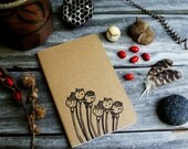 Autumn Poppy Flower Pod Notebook Moleskine Journal Hand Carved Rustic Nature Floral Garden Hike Camping Notes Birthday Retirement