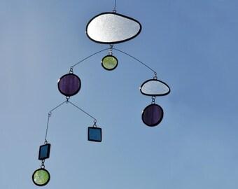 Mobile,Purple Mobile,Green mobile,beach home decor,Glass mobile,Suncatcher,Glass suncatcher,Children mobile,Baby mobile,En Bleu et Verre