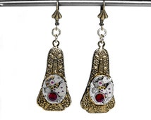 Steampunk Jewelry Earrings Womens Antiqued Gold Dangle Vintage PETITE Watches RED Crystals Wedding Valentine - Jewelry by Steampunk Boutique
