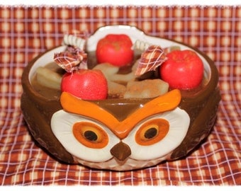 HOT APPLE PIE Scented Primitive Owl Bowl Candle- Highly Scented - Ofg Team
