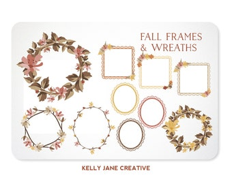 Autumn Dried Flower Wreaths and Lace Frames with Leaves - Instant Download
