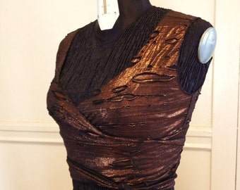 Distressed Fabric Choli Wrap Top for Belly Dancers to Burning Man - METALLIC FABRIC of Your Choice