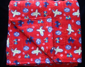 Blue and Red Venicle Flannel Baby Blanket