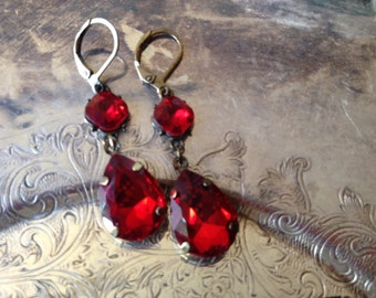 Garnet Bead Drop Earrings