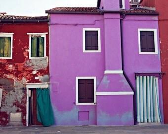 Italy Photo - Fine Art Photography, Colorful Homes of Burano Italy, purple, houses, travel, windows, doors, home decor, wall art, italy art