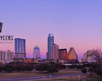 Downtown Austin Skyline with Indian Summer Panorama