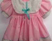 Pink with Grey Chevron Baby Cotton Dress Size 6 mos.