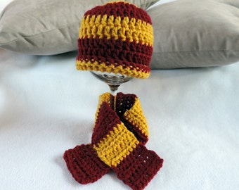 Newborn Infant Hogwarts Harry Potter House Beanie Hat and Scarf Photo Prop Set