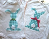 Brother and sister combo, applique bunny onesie or tee