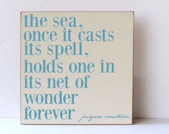 The Sea Wooden Sign, Beach Decor, Home Decor, Nautical Decor, Beach Wedding Decor, Wooden Beach Decor, Beach House Decor, Your Color Choice