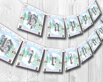 Sugar Plum Fairy Party, Nutcracker Party, Christmas Party, Ballerina Party - PRINTABLE BIRTHDAY BANNER - Cutie Putti Paperie
