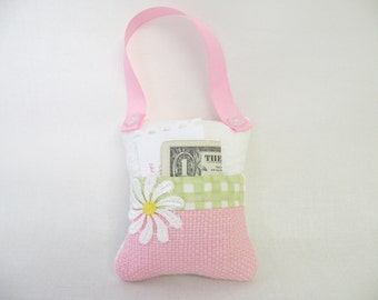 Tooth Fairy Pillow or Easter Basket Gift - Purse, Toy - Pink and Green in Gingham Check - Gift for Girls - Heart Button