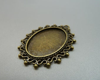 5pcs 28x38mm-18x25mm Antique Bronze Cameo Cabochon Base Setting Charm Pendant With 5 Clear Glass  d278