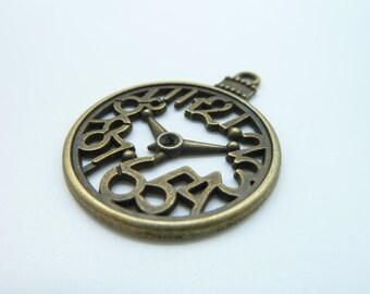 10pcs 38x28mm Antique Bronze Filigree Clock face Charm Pendant c355