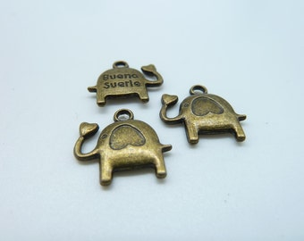 20pcs 14x16mm Antique Bronze  Mini Elephant Charm Pendant c1174