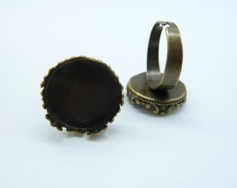 10pcs 18mm Antique Bronze Brass Cameo Cabochon Filigree Base Setting Rings C2293