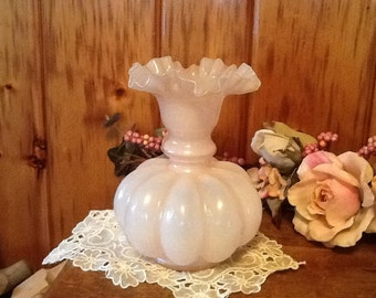 Vintage Fenton Vase Rose Overlay Glass Swat Melon 1940's Antique Home Decor On SALE