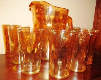 Vintage Marigold Carnival Pitcher with 8 glasses Honeycomb Design Vintage circa 1960's