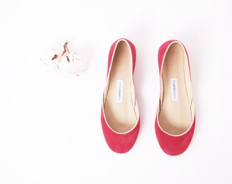 Red Suede Ballet Flats | Handmade Leather Flat Shoes | Valentine's Day Gift | Ballerina Shoes | Cherry Red...ready to ship