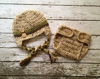 Button Beanie in Oatmeal, Olive Green and Taupe with Matching Diaper Cover Available in Newborn to 24 Month Size- MADE TO ORDER