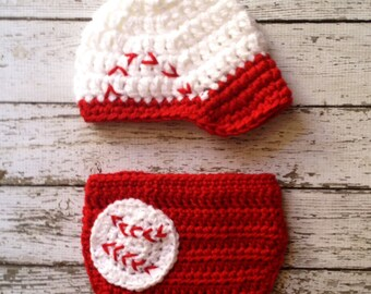 Baseball Newsboy Cap in Red and White with Matching Diaper Cover Available in Newborn to 24 Month Size- MADE TO ORDER