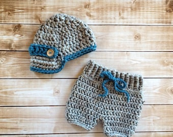 Oliver Newsboy Cap with Crochet Baby Shorts/Pants in Gray and Dusty Blue Available in Newborn to 6 Month Size- MADE TO ORDER