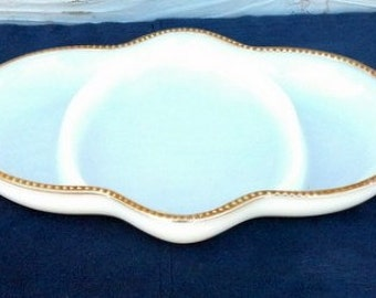 Vintage Anchor Hocking Fire King Relish Dish Divided Plate White Gold Trim Wedding Dish Vintage Wedding