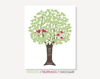 Family Love Tree with Love Birds: Anniversary Present / Wedding Gift Art Print