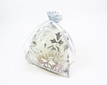 White Organza Bag With Silver Rose Print- Ideal wedding favor, jewellery pouch, packaging, bridesmaids gift