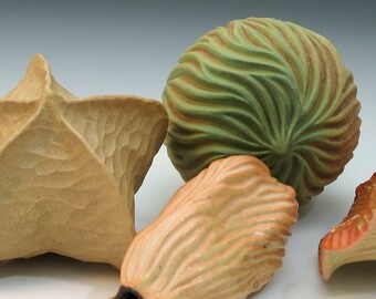 Limey green grooved porcelain pod with tan & brown