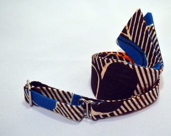 Blue Orange and Brown African Print Bow Tie