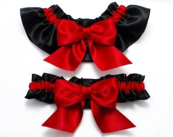 Wedding garters - bridal garters - black and red garters with red bows - red wedding garters - red satin garter set - red and black garters