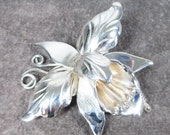 Vintage Taxco Mexico Sterling Silver Orchid Brooch Signed D.S /Old Eagle 3 Mark, Collector Piece