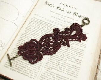 lace bracelet cuff -RACHAEL- merlot wine burgundy