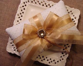 Wedding Ring Bearer Pillow - Gold Bow Pillow
