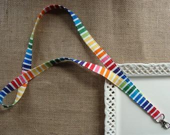 Fabric Lanyard - Rainbow Stripes