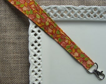 Fabric Lanyard ID -  Fall Leaves on Copper