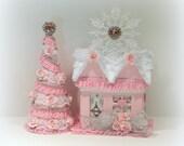 Christmas Decoration, Shabby Chic Christmas, Putz House, Christmas Gift Box, Table Top Tree, Christmas Tree, Shabby Chic Tree, Mantle Decor