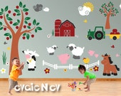 Children Wall Decal Wall Sticker Farm Animals  - Cow, Pigs, Sheep, Chicken, Horse, Tractor, Barn with Trees - Farm Wall Stickers PLFRM070