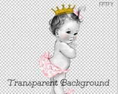 Adorable Princess Vintage Pink Baby Ruffle Butt Girl LARGE PNG Digital Image Download Sheet Transfer To Totes Pillows Tea Towels T-Shirts
