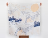 Mountain Blossom furoshiki. Japanese eco wrapping textile/scarf, handmade in Japan