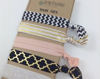 Hair Ties Gold Black & Peach Metallic Hair Ties Quatrefoil Chevron Hair Ties Glitter Party Favors elastic pony tail holder