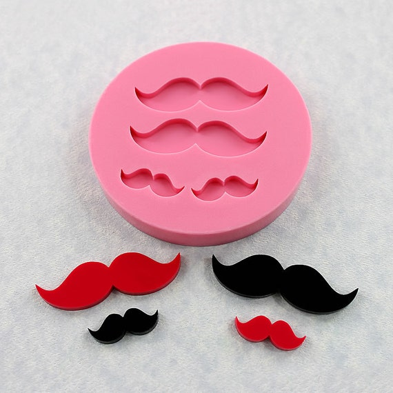 Mustache Moustache Mold Silicone Mould Resin Polymer Clay PMC Candy Fondant Gumpaste (335)