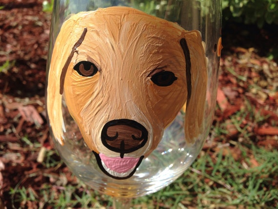 Custom painted pet wineglass, golden retriever breed dogs, dog lover, dog bows, animal lover
