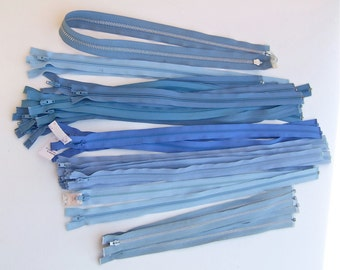 Blue lot of 30 assorted separable zippers coat upholstery