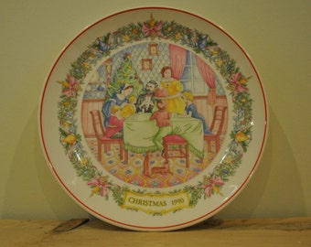 Vintage Wedgwood china plate - Christmas 1990 - Flaming the Pud