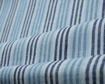 Pure  linen fabric with blue, and white stripes--Natural--Fine--Linen