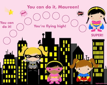 Custom Children's Incentive Chart  - Girl Super Hero - in French, too! Printable