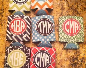 Personalized Can Cooler with Monogram - Perfect Bridesmaid/ Bachelorette Party Gifts- Customize Colors