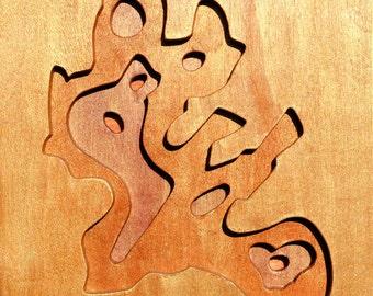 Kachina Point, Petrified Forest, Acrylic on Birch Plywood, map art